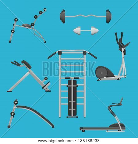Sport fitness gym exercise equipment machines set. Dumbbells and wokout machines