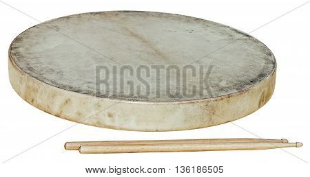 drum leather with stiks isolated on white background