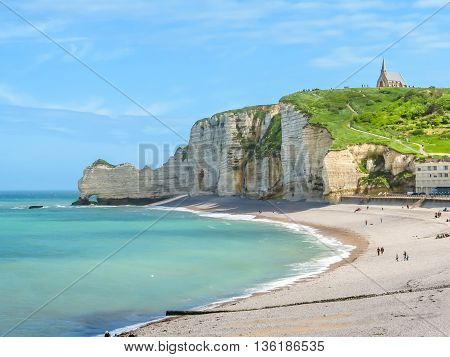Alabaster cliffs and beach of Etretat,Normandy, France