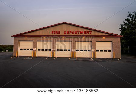 The exterior and doors of a fire department