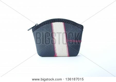 Stitched leather bag small portable transparent silver medal.