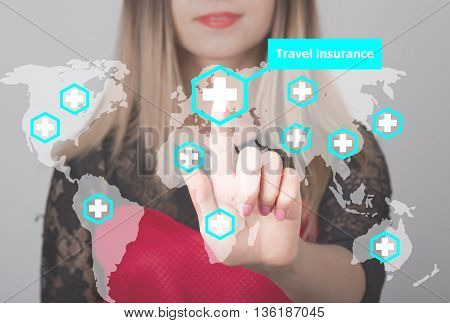 Woman pushing button with cross map travel insurance web icon. business, technology and internet concept in tourism.