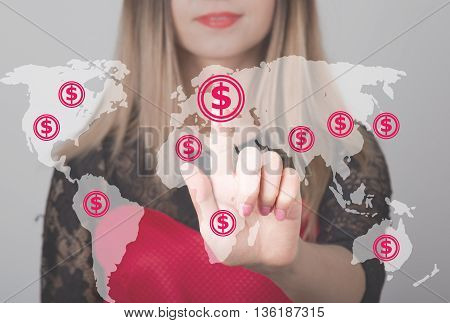 Woman pushing button with dollar map currency web icon. business, technology and internet concept.