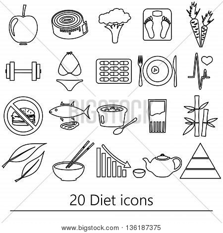 Set Of Diet And Healthy Life Style Theme Black Outline Icons Eps10