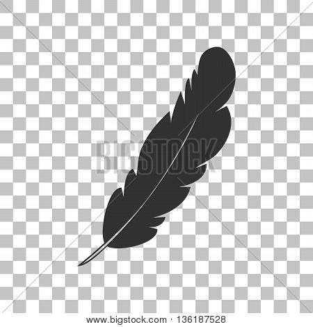 Feather sign illustration. Dark gray icon on transparent background.