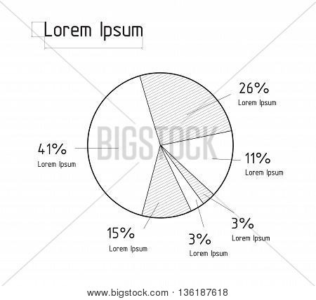 Vector illustration of the line pie chart. Infographic elements. Technical drawing