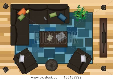 Sofas Armchair Set. Furniture, Pouf, Carpet, TV, Plants, Side Table for Your Interior Design. Flat Vector Illustration. Top View. Scene Creator 2