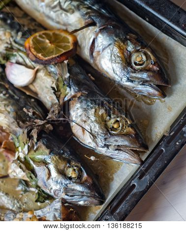 excellent fresh blue fish for a healthy diet freshly cooked with olive oil lemon and herbs