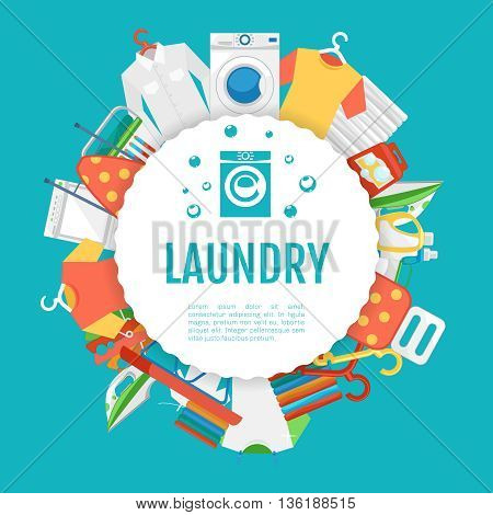 Laundry service poster design. Laundry icons circle label with text. Service and laundry, machine wash laundry, household appliance laundry. Vector illustration