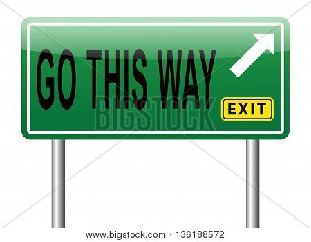 Go this way road sign billboard with text. Follow the other road or changing path. Change your direction and destination.