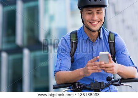 Man biking in the city