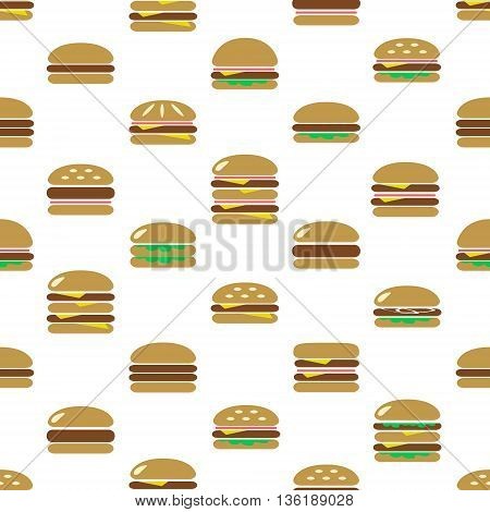 Colorful Hamburgers Types Fast Food Modern Simple Icons Seamless Pattern Eps10