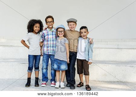 Kids Huddle Happiness Fun Smiling Concept