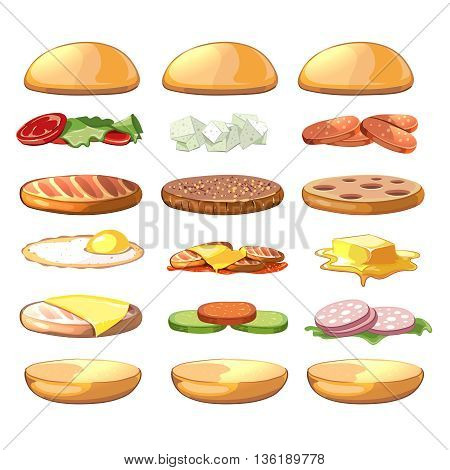 Burgers ingredients. Vector fastfood set in cartoon style. Burger food, hamburger ingredient, sandwich ingredient, cheeseburger ingredient illustration