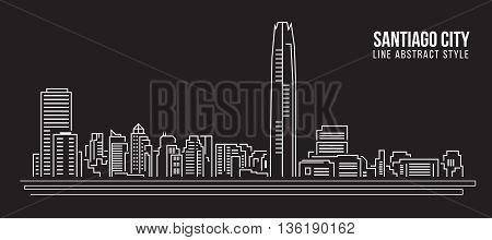 Cityscape Building Line art Vector Illustration design - Santiago city