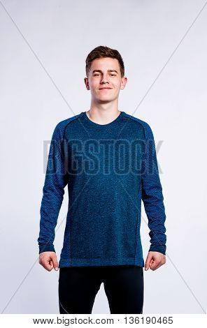 Boy In Green Sports Sweatshirt, Young Man, Studio Shot