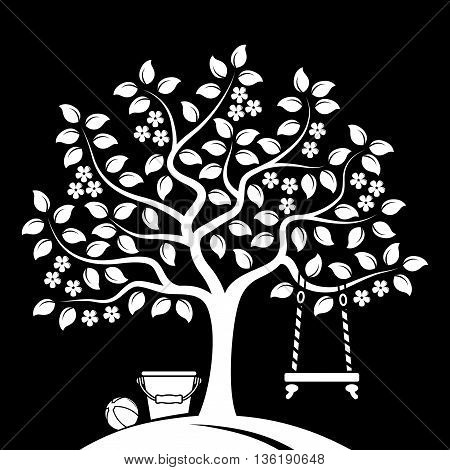 vector flowering tree with swing, bucket and ball isolated on black background