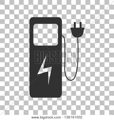 Electric car charging station sign. Dark gray icon on transparent background.