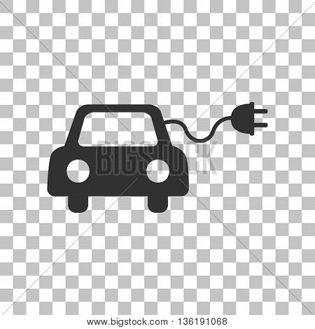Eco electric car sign. Dark gray icon on transparent background.
