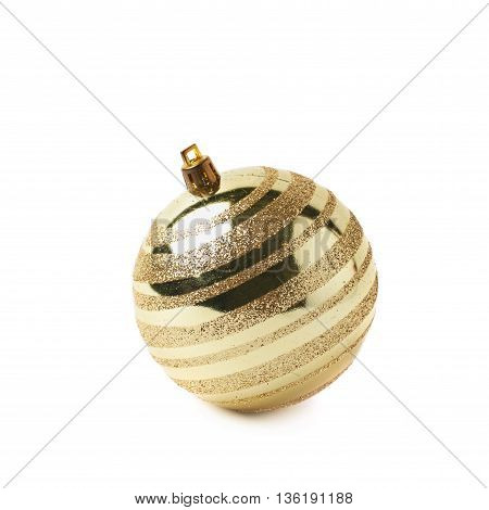 Single golden Christmas tree ball decoration isolated over the white background