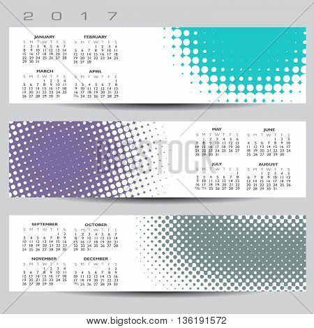Exciting and colorful abstract dot calendar for 2017