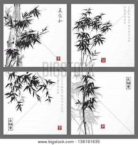 Set of cards with bamboo trees hand drawn with ink on white background. Traditional Japanese ink painting sumi-e.Contains hieroglyphs - eternity, freedom, happiness.