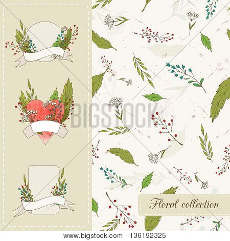 Botanical set. Seamless vector pattern of the leaves flowers and twigs with berries and three pattern with wild flowers and berries for your event