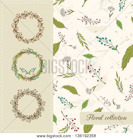 Botanical set. Seamless vector pattern of the leaves flowers and twigs with berries and three wreaths of wild flowers and berries