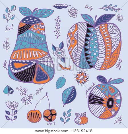 stock vector set of fruit with cherry pear peach apple leaf and flower. hand draw doodle pattern
