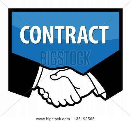 Business handshake and text Contract, vector illustration