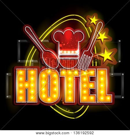 easy to edit vector illustration of Neon Light signboard for Hotel
