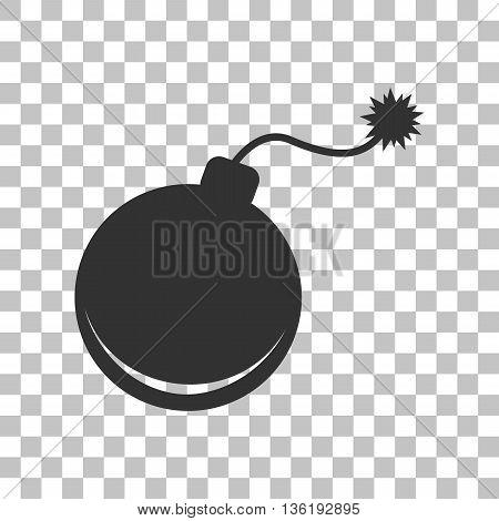 Bomb sign illustration. Dark gray icon on transparent background.