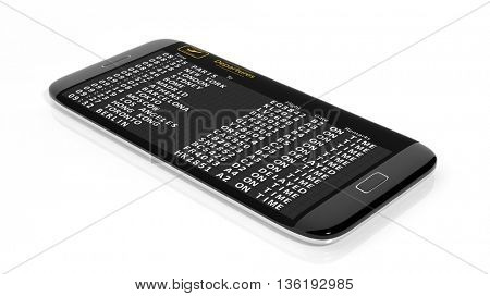 3D rendering of departures schedule on smartphone screen.Isolated