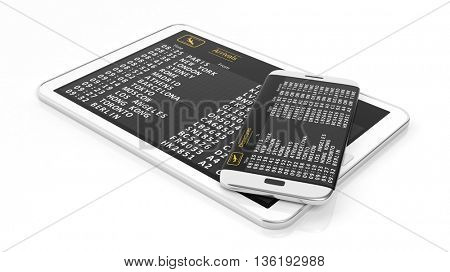 3D rendering of pad and cell phone with departures and arrivals schedule.Isolated