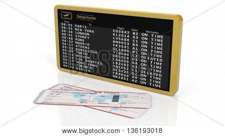 3D rendering of airport timetable with two tickets on white background