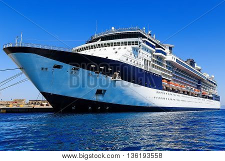 cruise ship at the berth in the port city of Rhodes