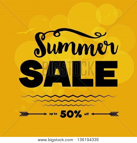 Summer sale banner. Vector illustration. White decorated text vs orange background with light circles sea waves seagulls. Sample text. Layered editable.