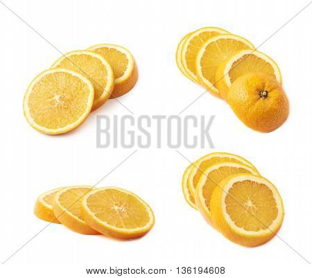 Orange fruit cut in multiple slices, composition isolated over the white background, set of four different foreshortenings