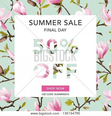Summer Sale Banner. Sale Background. Floral Background. Magnolia Sale Poster. Vector Illustration. 50 % off
