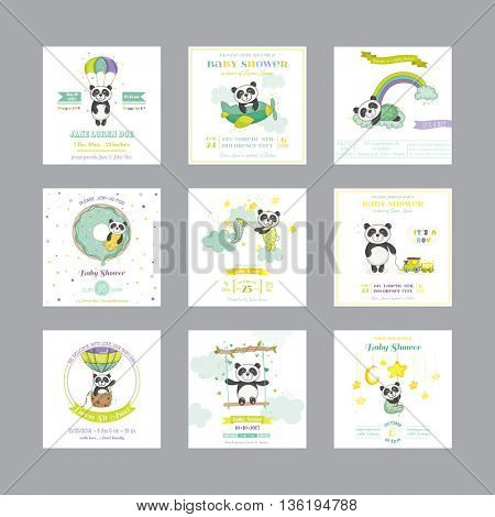 Baby Shower Card. Arrival Baby Card. Baby Panda Animal. Vector Set.