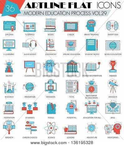 Vector Modern online education ultra modern outline artline flat line icons for web and apps