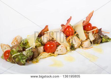 Elegant italian snack salad with mushrooms and chicken