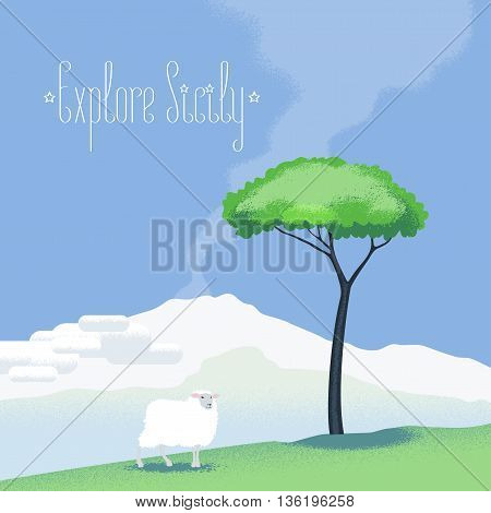 Sicily view vector illustration, design element with Etna volcano, sheep, tree. Italy nonstandard image with Sicily landscape