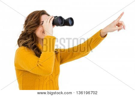 Young woman looking through binoculars on white background