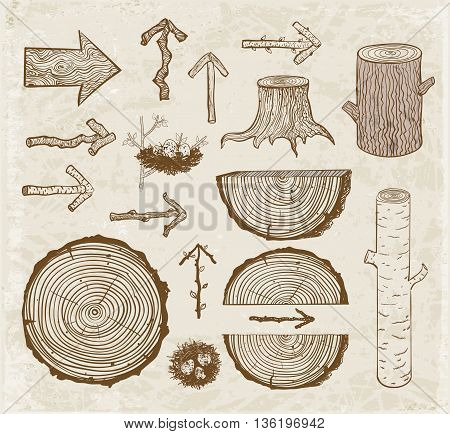 Sketches of wood cuts, logs, stump and wooden arrows on vintage background.
