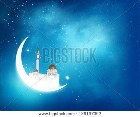 Islamic greeting  Eid Mubarak cards for Muslim Holidays.Eid-Ul-Adha festival celebration . Ramadan Kareem background with crescent moon and shiny Mosque in the sky