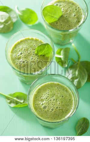 healthy green spinach smoothie with leaves