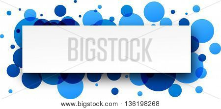 Paper round blue abstract banner. Vector illustration.