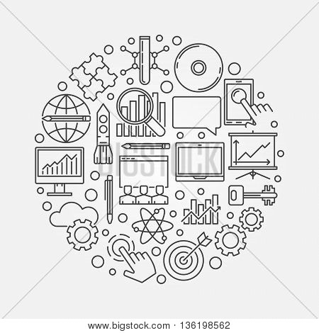 Innovation round symbol. Vector business innovation concept illustration made with linear icons