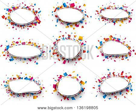 Set of White backgrounds with color confetti. Vector paper illustration.